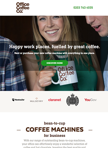 Coffee company page using Hubspot