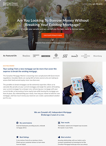 Morcan Direct Finance Landing Page for Loans