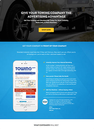 Towing Page for App