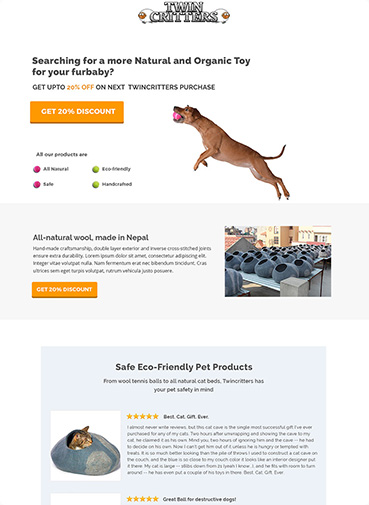twin-critters mailchimp landing page design