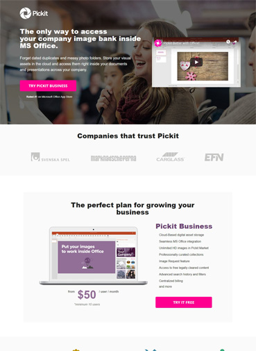 Best Business Landing Pages - Pickets