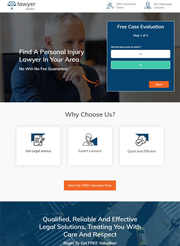 Best law landing page - Lawyer Located