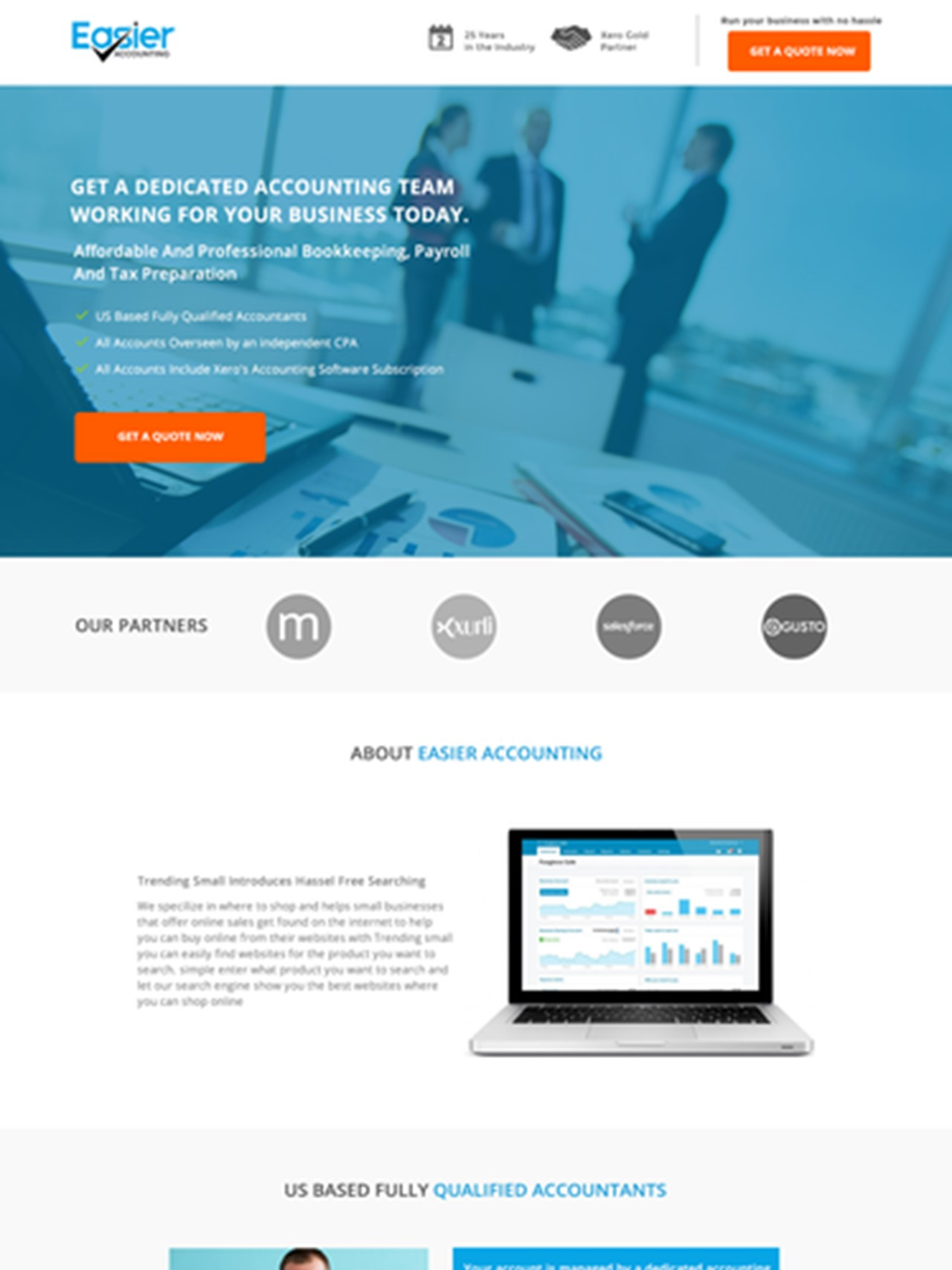Accounting landing page Easier Accounting